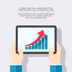 Colored flat background, vector design. Man's hands holding tablet with growth diagram. Illustration for progress, profits, economy, success business, infographic. Electronic tablet touchscreen