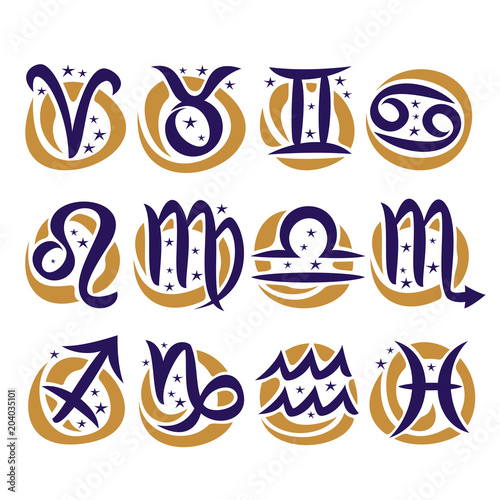 Vector Set Of Zodiac Signs Collection Of 12 Astrology Calligraphic