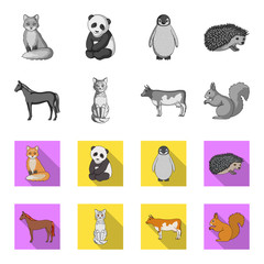 Horse, cow, cat, squirrel and other kinds of animals.Animals set collection icons in monochrome,flat style vector symbol stock illustration web.