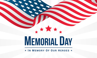 Memorial Day Background Vector illustration, USA flag waving with text.