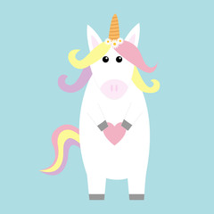 Unicorn holding heart. Kawaii face. Pastel color rainbow hair, daisy chamomile flower. Flat lay design. Cute cartoon baby character. Funny horse. Happy Valentines Day. Love card. Blue background