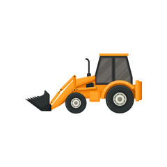Yellow tractor with bucket. Front-end loader. Heavy machine used in construction works. Flat vector design