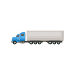 Semi truck with blue cab and long gray trailer. Vehicle for transportation cargo. Flat vector element for promo poster of delivery company