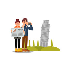 Tourists on vacation in Italy. Woman looking in map, man taking pictures with his camera. Leaning Pisa tower on background. Flat vector design