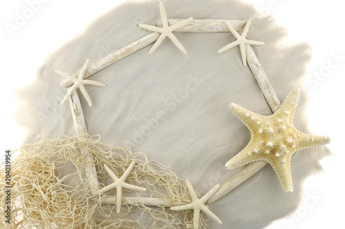 Summer sea flat lay. frame driftwood of white sea snags and white ...