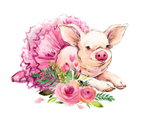 Cute pig watercolor illustration