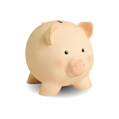 Realistic pink piggy bank pig, cartoon on white background