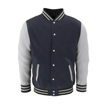 Baseball Jacket on white. Front view. 3D illustration