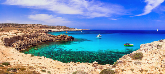 Keuken foto achterwand Cyprus Cyprus island - amazing crystal waters of Blue lagoon in Cape Greko natural park