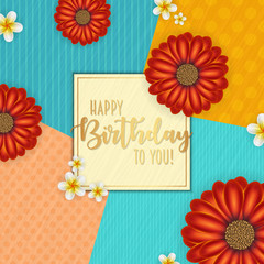 Birthday card with frame decorated with flowers and vintage retro background.