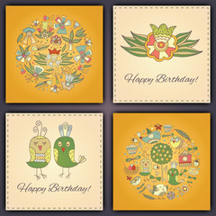 Happy birthday vector greeting card with abstract doodle birds and flowers.