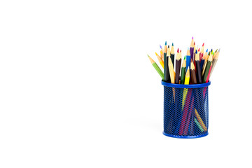 Color pencils in a pencil box on white background