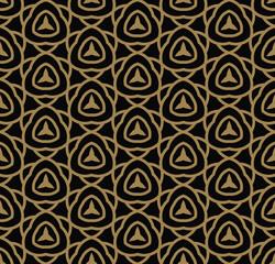 Abstract seamless pattern. Geometric line gold ornament. Ornamental stylish background.