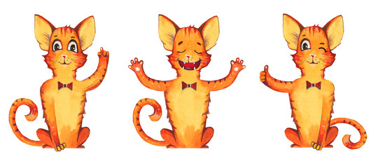 Hand drawn watercolor illustration set of three cartoon red cats in bow with different gestures. Isolated on white background