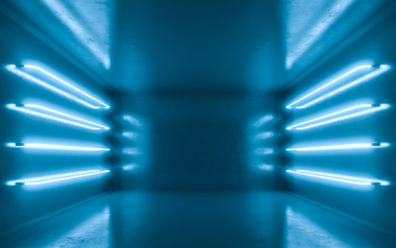 Abstract room interior for backgrtound with blue neon. 3d rendering