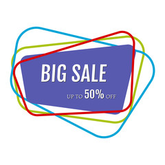 Big sale sticker with abstract colorful chaotic lines around. Vector illustration