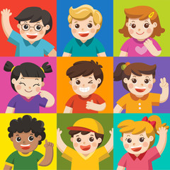 Set of Different Kids with various postures. Avatars of boys and girls on  colors background.