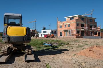 Baustelle Neubau eines Hauses in der Stadt