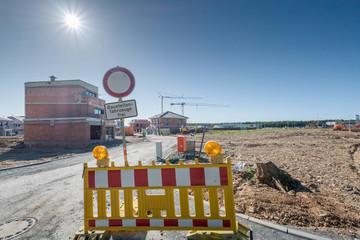 Neubaugebiet in der Stadt Baustelle