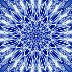 snowflake mandala sacred geometry illustration in blue ice