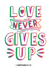 Hand Lettered Love Never Gives Up. Handwritten Inspirational Motivational Quote. Christian Poster