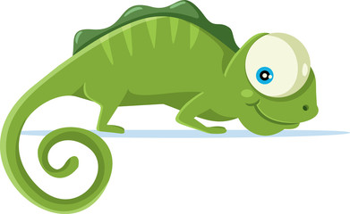 Cute Chameleon Vector Cartoon Illustration