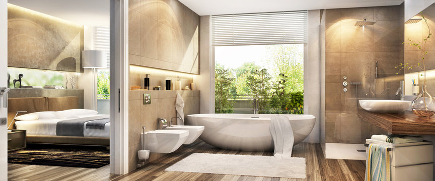 Large bathroom in the bedroom