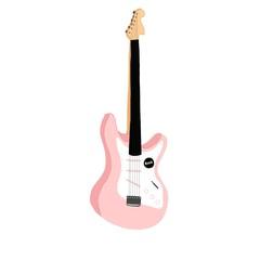ピンクのギター / 白背景の可愛いイラスト