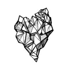 Vector sketch of crystal heart