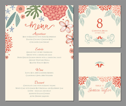 Wedding menu, table number and name place card design. Vector illustration.