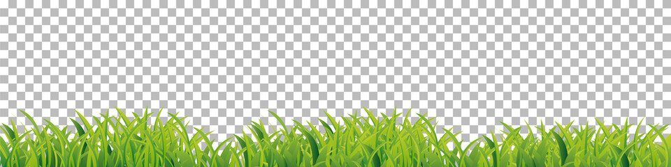 Green Grass border frame on checkered background