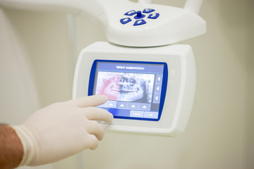 Dental 3d scanner and monitor in the dentist's office.