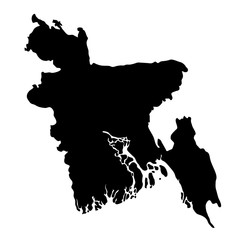 black silhouette country borders map of Bangladesh on white background. Contour of state. Vector illustration