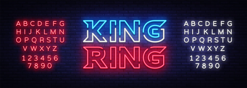 Fight Club neon sign vector. King of the Ring neon symbol logo, design element on night battles, light banner, night neon advertisement. Editing text neon sign