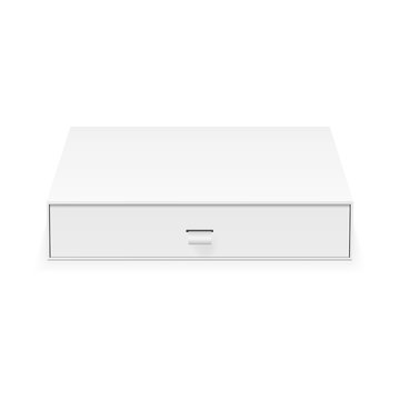 Sliding box mockup isolated on white background - front view. Vector illustration