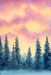 Watercolor landscape. Winter forest