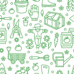 Gardening, planting and horticulture green seamless pattern with vector line icons. Garden equipment, organic seeds, greenhouse, pruners, watering can, tools. Vegetables flower cultivation background.