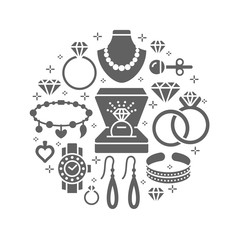 Jewelry shop, diamond accessories banner illustration. Vector silhouette icons of jewels gold watches, engagement rings, earrings, silver necklaces, charms, brilliants. Fashion store circle template.
