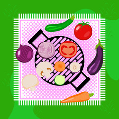 Vegetables summer picnic party outdoor with grill