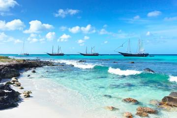 Arashi Beach Aruba Caribbean Sea boats catamaran snorkeling turquoise water