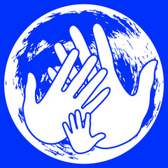 Global Day of Parents. Planet Earth. Palms of the father, mother and the child. White and blue