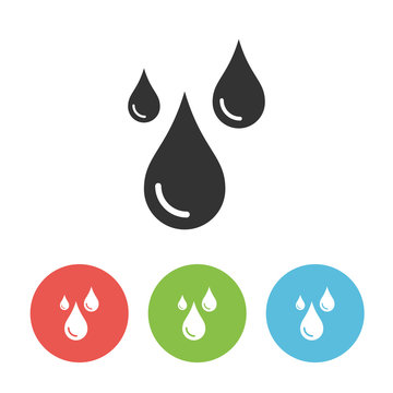 Raindrops vector one flat solid icon isolated on white background