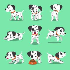 Vector cartoon character dalmatian dog poses