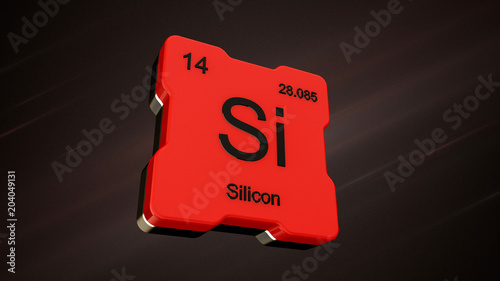 Silicon Element Number 14 From The Periodic Table On Futuristic Red