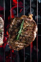 Pork steak on the grill