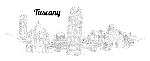 Pisa city panoramic vector hand drawing artwork