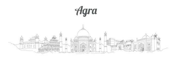 AGRA city panoramic vector hand drawing artwork Fototapete