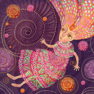 A girl from a fairy tale in an ethnic dress flies in fantastic spheres