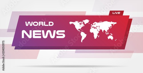 world news live banner on wavy lines background business technology