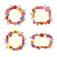 Floral frame set isolated on white background